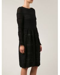 Lanvin - Black Crochet Knit Dress - Lyst