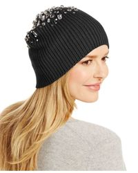 INC International Concepts | Black Embellished Rib Hat | Lyst