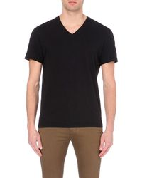 James Perse | Black V-neck Cotton T-shirt for Men | Lyst