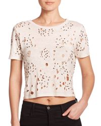 Alice + Olivia | Natural Distressed & Beaded Linen Cropped Top | Lyst