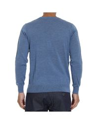 Armani Jeans | Blue Sweater Crewneck Basic With Logo for Men | Lyst