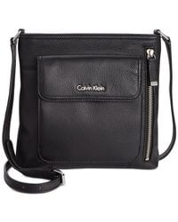Calvin Klein | Black Pebble Leather Crossbody | Lyst