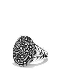 David Yurman | Metallic Cable Coil Ring With Diamonds | Lyst