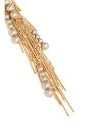 Assad Mounser | Metallic 'reverb' Fringe Pearl Assymetric Earrings | Lyst