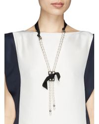 Lanvin - White Faux Pearl Grosgrain Ribbon Matinée Necklace - Lyst