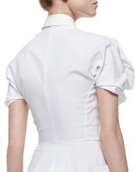 Alexander McQueen - White Puff-sleeve Pique-knit Shirtdress - Lyst