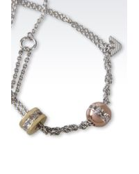 Emporio Armani | Metallic Necklace In Rhodium-Plated Silver And Cz Stones | Lyst