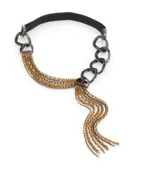 Lanvin | Black Crystal, Chain & Leather Draped Tassel Necklace | Lyst