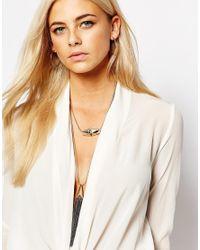 Oasis | Metallic Sleek Pave Tassel Multirow Necklace | Lyst