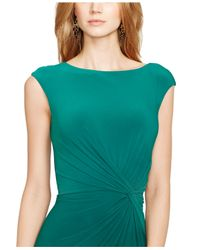 Lauren by Ralph Lauren - Green Ruched Cap-Sleeve Dress - Lyst