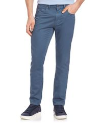 Saks Fifth Avenue | Blue Pima Cotton Straight-leg Pants for Men | Lyst