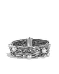 David Yurman | Metallic Sixteen-row Chain Bracelet With Pearls | Lyst