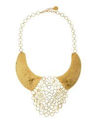 Devon Leigh - Yellow Hammered Chain Maille Bib Necklace - Lyst