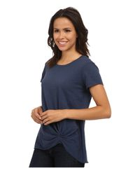 Michael Stars | Blue Supima Cotton Slub Short Sleeve Crew W/ Pleat | Lyst