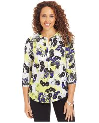 NYDJ | Multicolor Petite Three-quarter-sleeve Blouse | Lyst