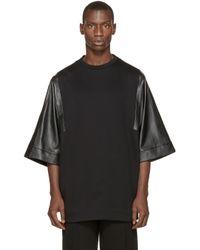 Juun.J - Black Leather Sleeve T_shirt for Men - Lyst