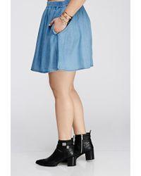 Forever 21 - Blue Chambray Skater Skirt - Lyst