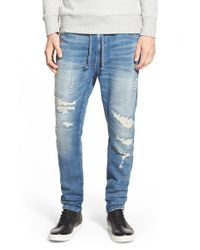 Azul By Moussy - Blue Dobby Denim Knit Jogger Pants for Men - Lyst