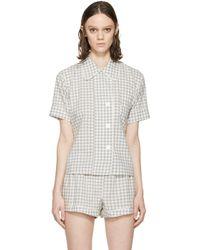 Araks | Gray Grey Gingham Pyjama Shelby Blouse | Lyst