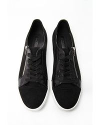 Forever 21 | Black Faux Suede Zippered Sneakers | Lyst