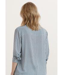 Violeta by Mango - Blue Printed Flowy Shirt - Lyst