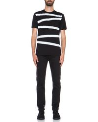 Neil Barrett | White Stripe Cotton Tee | Lyst