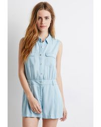 7613aab628c Forever 21 Buttoned Chambray Romper in Blue - Lyst