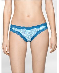 Calvin Klein - Blue Underwear Thong With Lace - Lyst