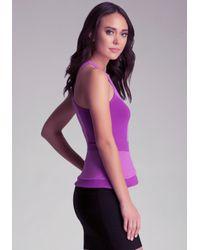 Bebe - Purple Colorblock Peplum Top - Lyst