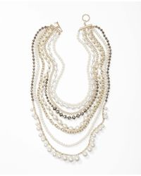Ann Taylor | Metallic Pearlized Crystal Statement Necklace | Lyst