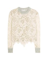 See By Chloé - Natural Lace And Wool Sweater - Lyst