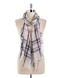 Lord & Taylor | White Cotton Plaid Scarf | Lyst