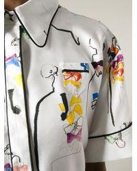 N°21 - White Bow Print Oversized Shirt - Lyst