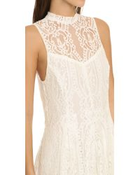 Free People - White Angel Rays Lace Trapeze Midi Dress - Lyst