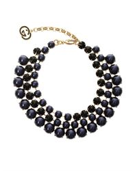 Gucci | Blue Crystal And Faux-Pearl Tiered Necklace | Lyst