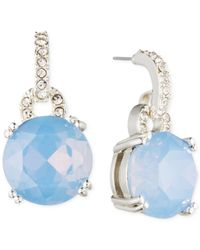 Anne Klein | Blue Silver-tone Glass Stone And Crystal Drop Earrings | Lyst
