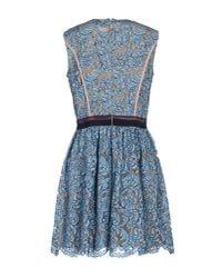 MSGM - Blue Short Lace Dress - Lyst