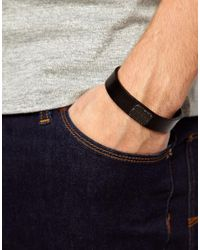 DIESEL | Black Amosto Leather Embossed Logo Bracelet for Men | Lyst