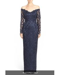 Helen Morley - Blue Off The Shoulder Guipure Lace Column Gown - Lyst