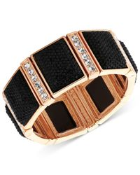 Guess | Gold-tone Black Stone And Crystal Stretch Bracelet | Lyst