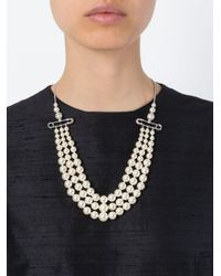 Vivienne Westwood - White Safety Pin Strands Of Pearls Necklace - Lyst