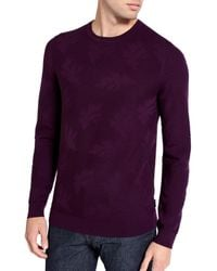 Ted Baker | Purple Feelix Jacquard Crew Neck Jumper for Men | Lyst