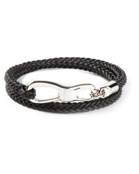 Ferragamo | Black Braided Bracelet for Men | Lyst