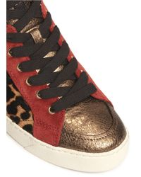 Sam Edelman | Red 'britt' Leopard Calf Hair Leather Combo Sneakers | Lyst