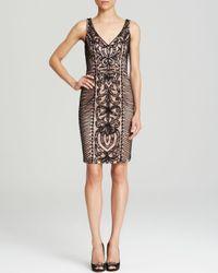 Sue Wong - Black Dress Sleeveless V Neck Contrast Soutache - Lyst