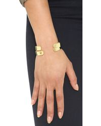 Kacey K | Metallic Kk Open Bangle Bracelet - Gold | Lyst