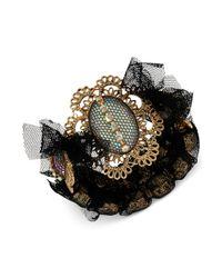 Betsey Johnson - Black Antique Goldtone Mesh and Crystal Stretch Bracelet - Lyst