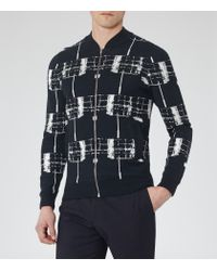 Reiss - Blue Tear Contrast Knitted Jacket for Men - Lyst