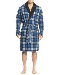 UGG | Blue Ugg 'manning' Plaid Cotton Blend Robe for Men | Lyst