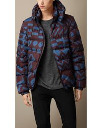 Burberry | Brown Geometric Print Puffer Jacket for Men | Lyst